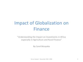 Impact of Globalization on Finance
