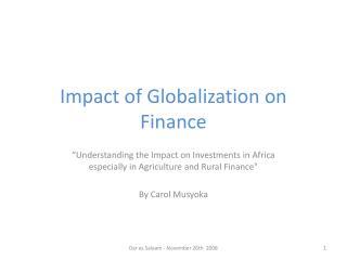 Impact of Globalization on Finance
