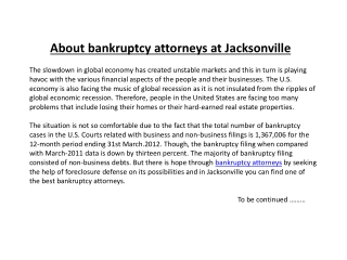 About bankruptcy attorneys at Jacksonville
