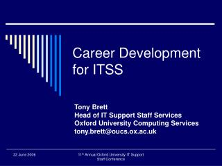 Career Development for ITSS