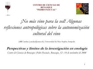 No m s vino para la sed Algunas reflexiones antropol gicas sobre la autonomizaci n cultural del vino