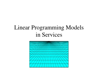 Linear Programming Models