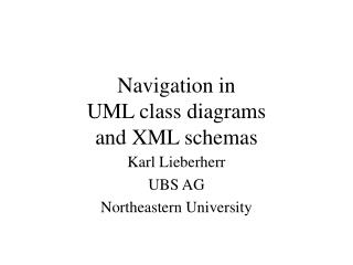Navigation in  UML class diagrams and XML schemas
