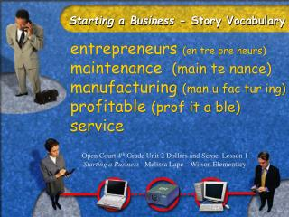Starting a Business - Story Vocabulary