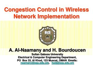 Congestion Control in Wireless Network Implementation