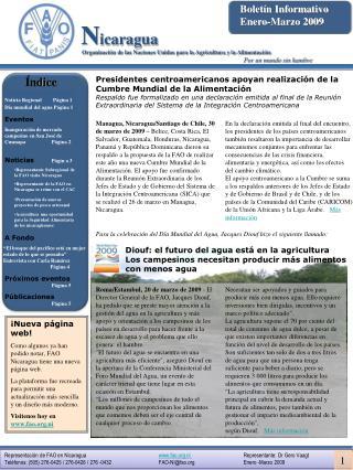 Representaci n de FAO en Nicaragua            fao.ni                        Representante: Dr Gero Vaagt Tel fonos: 505
