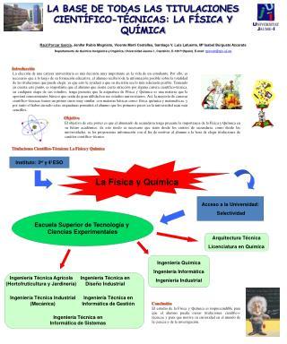 Escuela Superior de Tecnolog a y  Ciencias Experimentales