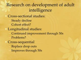 Research on development of adult intelligence