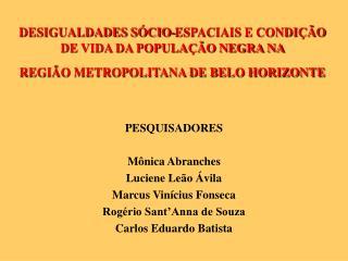 DESIGUALDADES S CIO-ESPACIAIS E CONDI  O DE VIDA DA POPULA  O NEGRA NA  REGI O METROPOLITANA DE BELO HORIZONTE