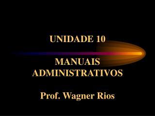 UNIDADE 10  MANUAIS ADMINISTRATIVOS  Prof. Wagner Rios