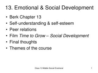 13. Emotional  Social Development