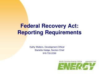 Federal Recovery Act: Reporting Requirements