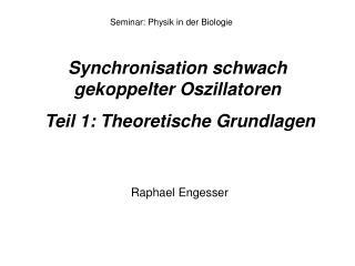 Synchronisation schwach gekoppelter Oszillatoren   Teil 1: Theoretische Grundlagen