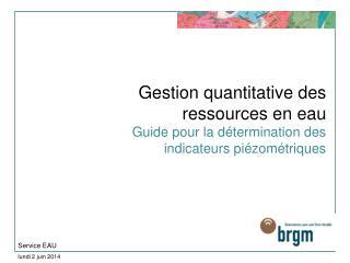 Gestion quantitative des ressources en eau Guide pour la d termination des indicateurs pi zom triques