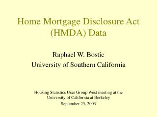 Home Mortgage Disclosure Act HMDA Data