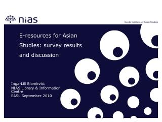 E-resources for Asian Studies: survey results and discussion