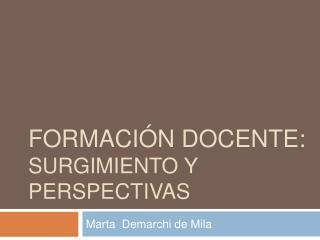 FORMACI N DOCENTE: surgimiento y perspectivas