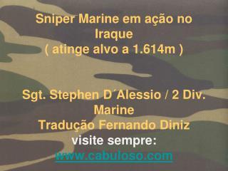 Sniper Marine em a  o no Iraque  atinge alvo a 1.614m    Sgt. Stephen D Alessio