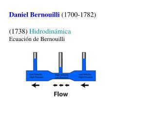 Daniel Bernouilli 1700-1782  1738 Hidrodin mica Ecuaci n de Bernouilli