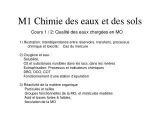 M1 Chimie des eaux et des sols