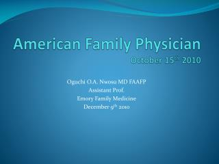 American Family Physician October 15th 2010