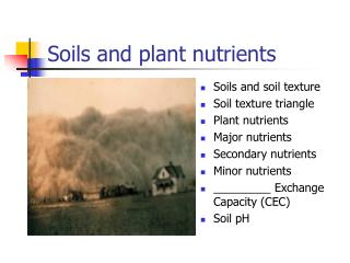 Soils and plant nutrients