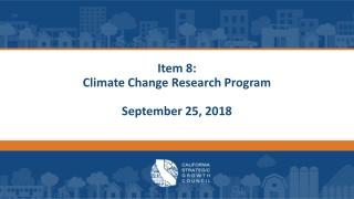Proposed Climate Change Initiatives  Implementation Framework