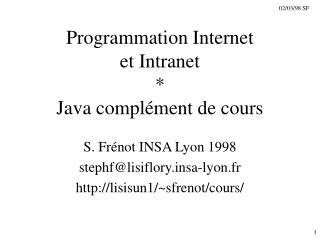 Programmation Internet et Intranet   Java compl ment de cours