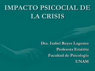 IMPACTO PSICOCIAL DE LA CRISIS