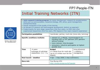 Initial Training Networks ITN