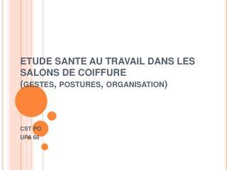 ETUDE SANTE AU TRAVAIL DANS LES SALONS DE COIFFURE  gestes, postures, organisation