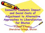 Domestic Economic Impact and Social Costs of Adjustment to Alternative Approaches to Liberalization for Bhutan
