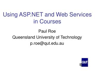Using ASP and Web Services in Courses