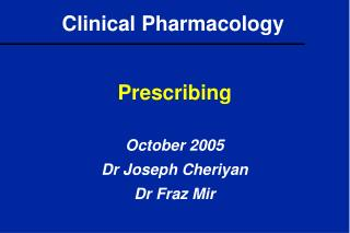 Clinical Pharmacology
