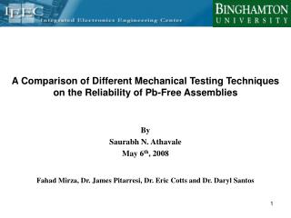 A Comparison of Different Mechanical Testing Techniques on the Reliability of Pb-Free Assemblies