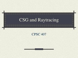 CSG and Raytracing