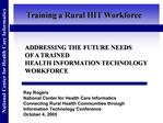 ADDRESSING THE FUTURE NEEDS OF A TRAINED HEALTH INFORMATION TECHNOLOGY WORKFORCE