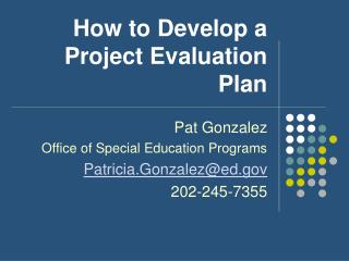 How to Develop a Project Evaluation Plan