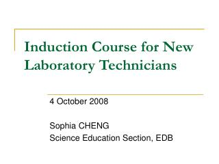 Induction Course for New Laboratory Technicians