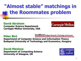 Almost stable  matchings in the Roommates problem