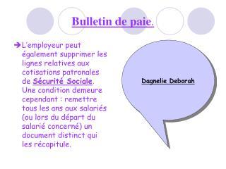 Bulletin de paie.