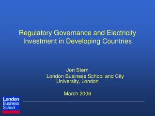 Regulatory Governance and Electricity Investment in Developing Countries