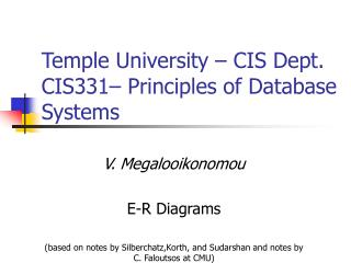 Temple University   CIS Dept. CIS331  Principles of Database Systems