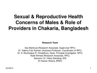 Sexual  Reproductive Health  Concerns of Males  Role of Providers in Chakaria, Bangladesh