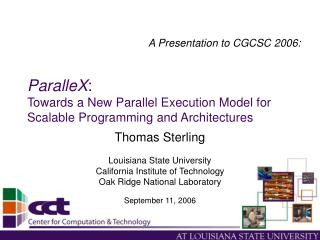 ParalleX: Towards a New Parallel Execution Model for Scalable Programming and Architectures