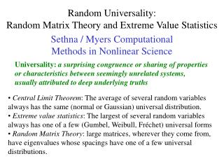 Random Universality: Random Matrix Theory and Extreme Value Statistics