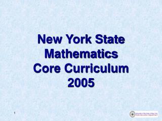 New York State Mathematics Core Curriculum 2005