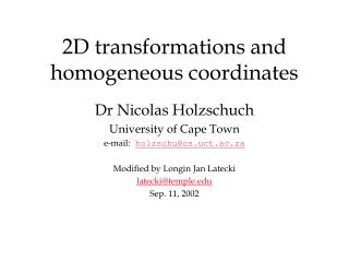 2D transformations and homogeneous coordinates
