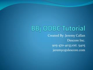 BBj ODBC Tutorial