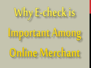 Why E-check is Important Among Online Merchant